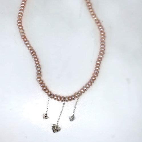 Heart drop on pink pearls choker