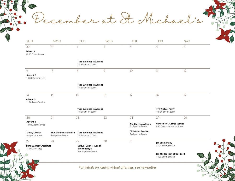 December 2020 at St Michaels Calendar No