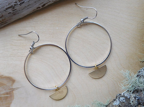 Silver hoop with brass crescent earrings