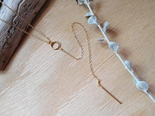 """1""""delicate gold bar y necklace"""