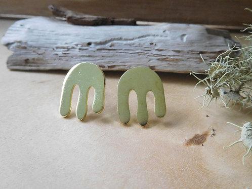 WS Brass Cactus Earrings