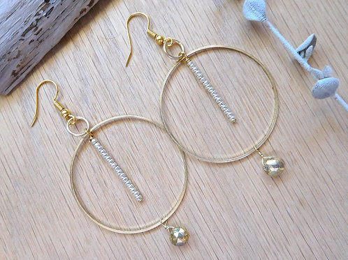 Wholesale brass hoops with gold pyrite drops
