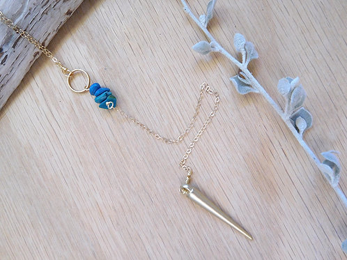 Gold spike with turquoise necklace