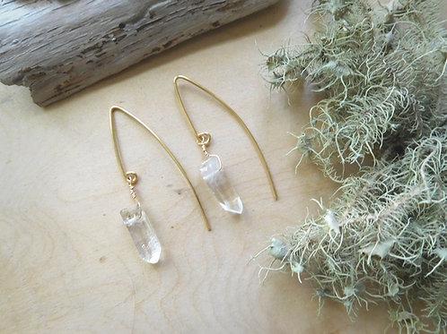 WS Quartz Marquis Threader Earrings