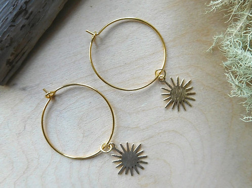 Gold Sun Hoops Earrings