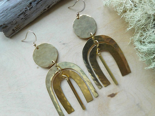 Brass shapes with bar earrings