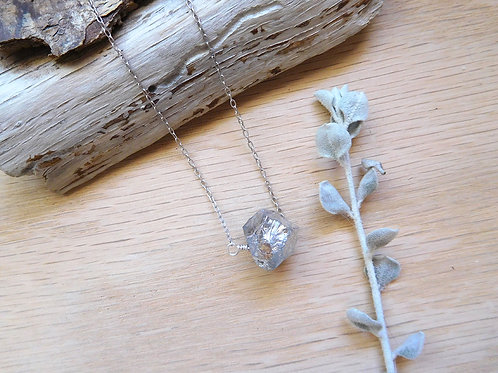 Pyrite cube on delicate silver chain