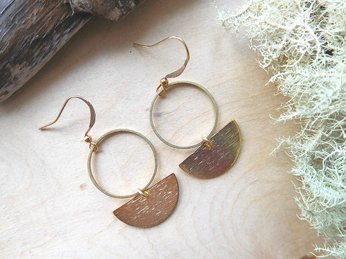 Gold hoop and half moon earrings