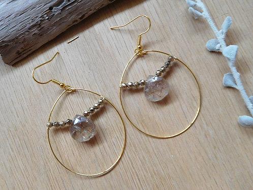 Wholesale Rutilated quartz earrings