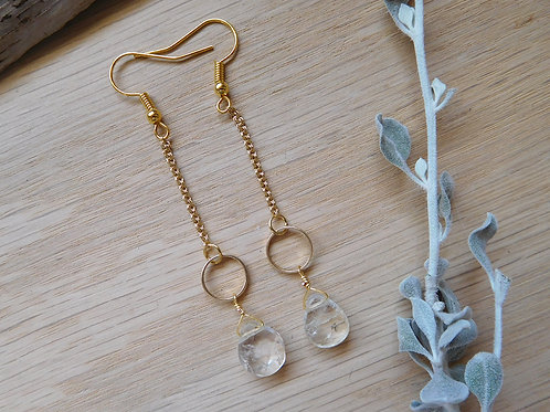 gold hoop gemstone drop earrings