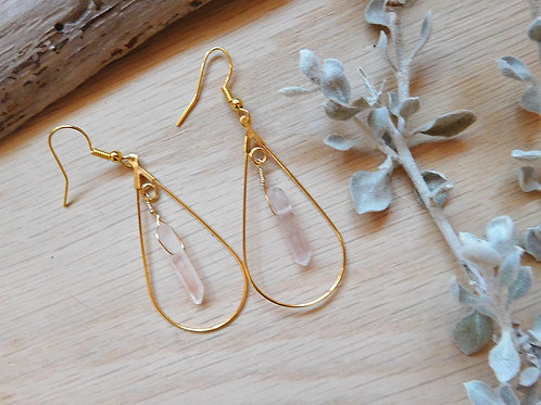 WS Gold teardrops with quartz points