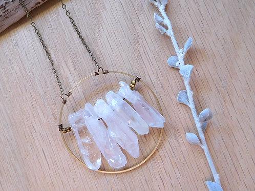 Quartz points on brass hoop necklace