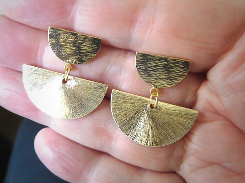 WS Large textured half moon earrings