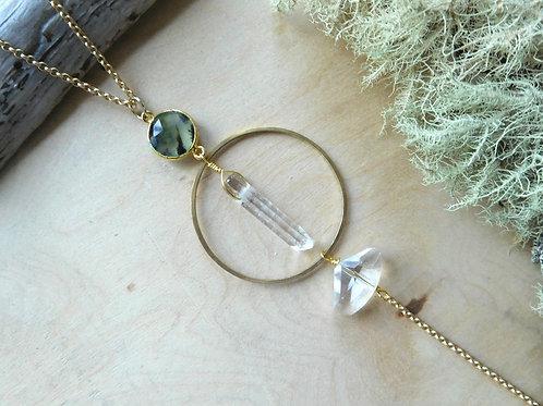 Labradorite and quartz hoop necklace