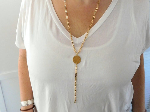 WS Brass circle with gold chain y neck