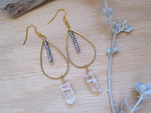 Brass teardrops with hematite and quartz drops
