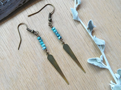 Brass spike turquoise drop earrings