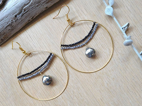 Pyrite and gold hoop earrings
