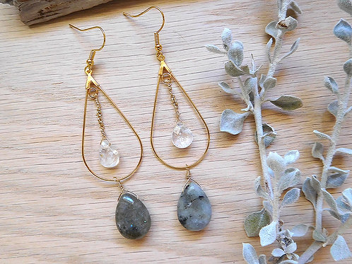 Gold teardrops with crystal and labradorite teardrops