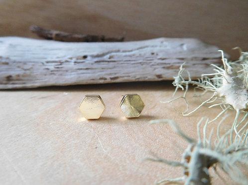 Gold hexagon stud earrings