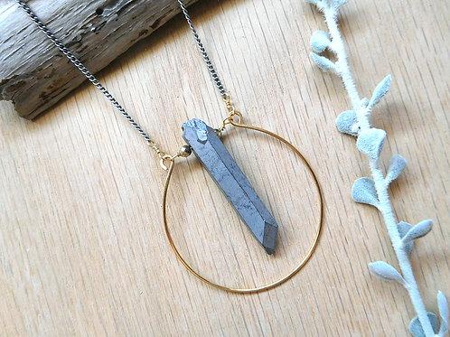 Wholesale silver quartz with gold hoop necklace