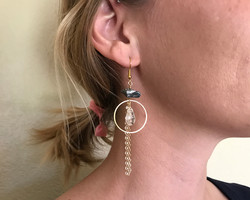 brass hoops with pyrite chunks earrings online