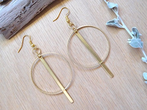 Large brass hoops and bars earrings