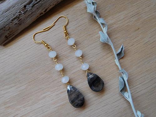Labradorite teardrops with crystals earrings