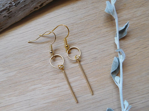 wholesale small gold hoops with delicate gold bar earrings