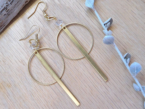 Brass hoops and bars earrings