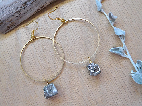 WS Brass hoops and pyrite earrings