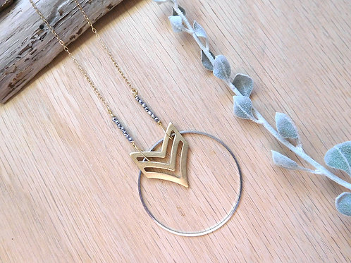 Chevron with silver hoop necklace