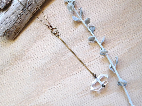 Bronze chain and bar with quartz point drop