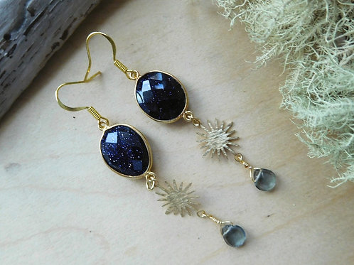 WS Gemstone bezel earrings