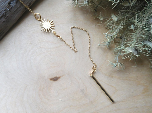 Gold Sun and Bar Necklace