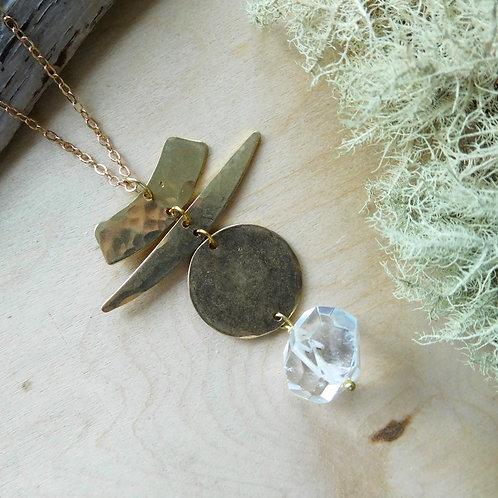 WS Quartz brass shapes necklace