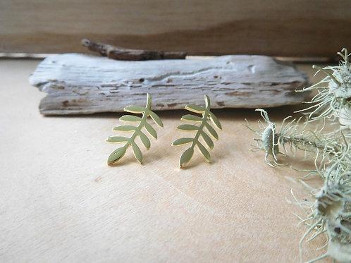Gold Organic Leaf Earrings
