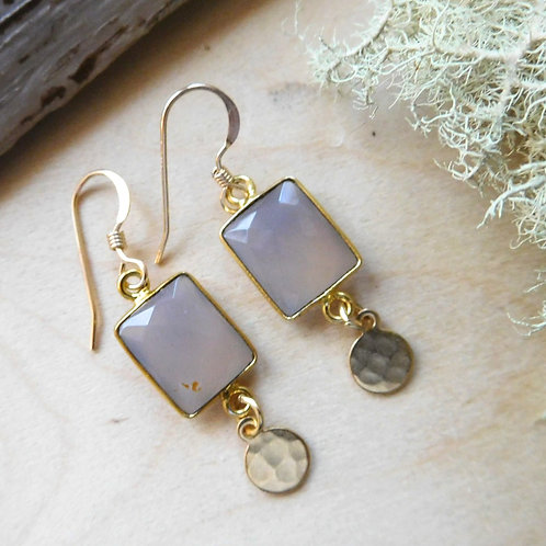 Square gemstone connector earring