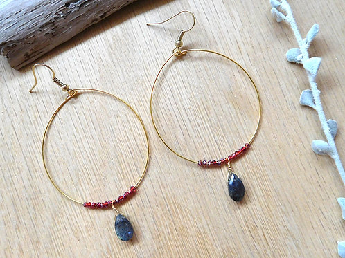 Wholesale Labradorite teardrops hoops
