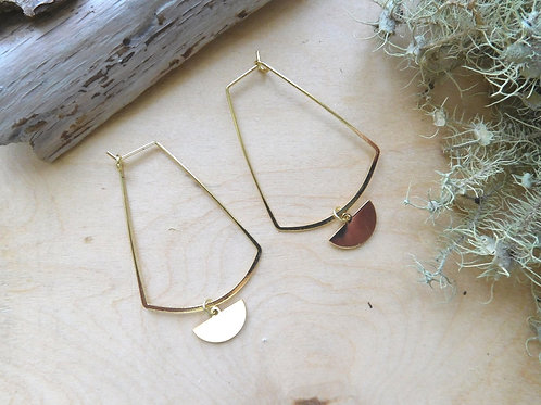 Gold Wire Earring with half moon charm