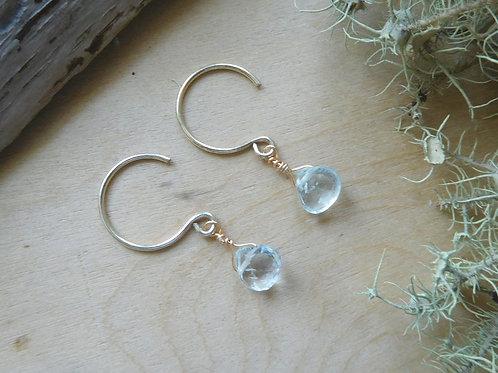 Tiny Aquamarine drops on Gold Earwires
