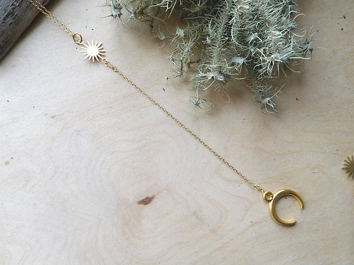 Gold Sun and Moon y necklace