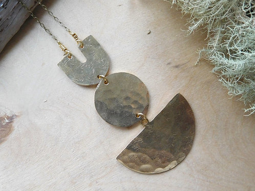 WS Brass hammered shapes necklace