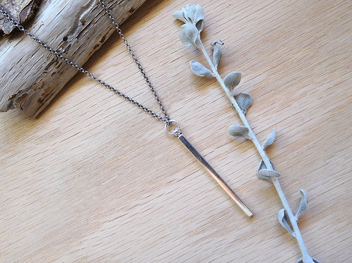 WS Silver bar necklace