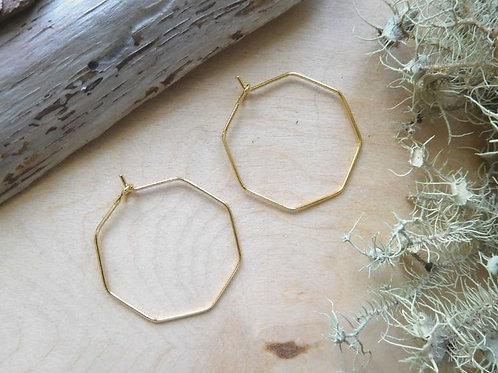WS Gold Octagon Earrings