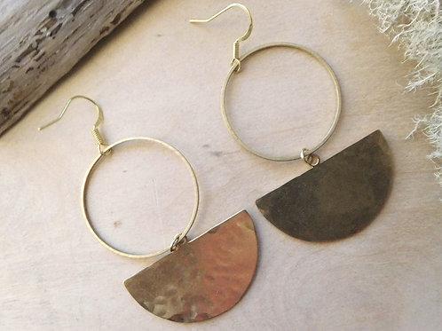 Hammered Brass hoop and half moon earrings