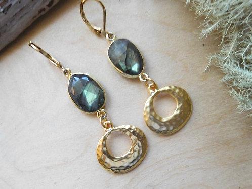 Labradorite gold hoops earrings