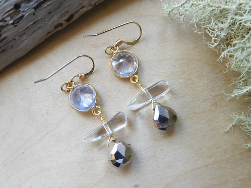 WS Herkimer diamond quartz pyrite earrings