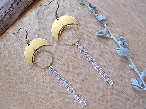 Brass crescents and hoops tassel earrings