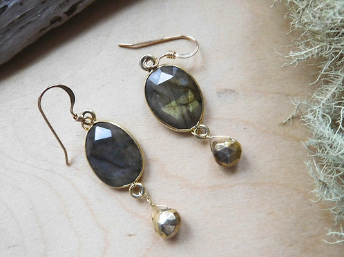 WS Labradorite and pyrite earrings